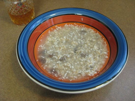 For quick-cooking hot oatmeal, mix equal parts of cereal and water in a bowl.