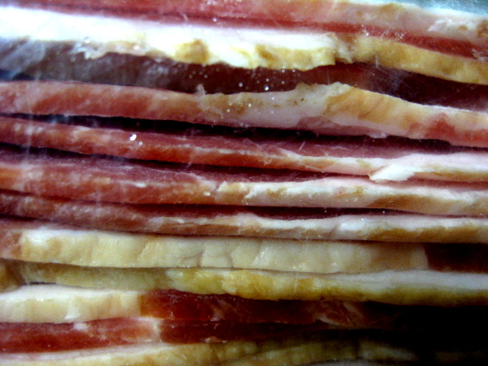 After an hour or more, pull the bacon out of the freezer, put it in a ziplock freezer bag, then return it to the freezer for later use. Here's the bacon in the bag.