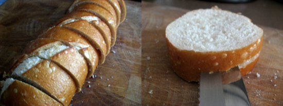 Slice the loaf in 3/4 in. slices. Next, cut a pocket into each slice being careful not to cut it fully in half.