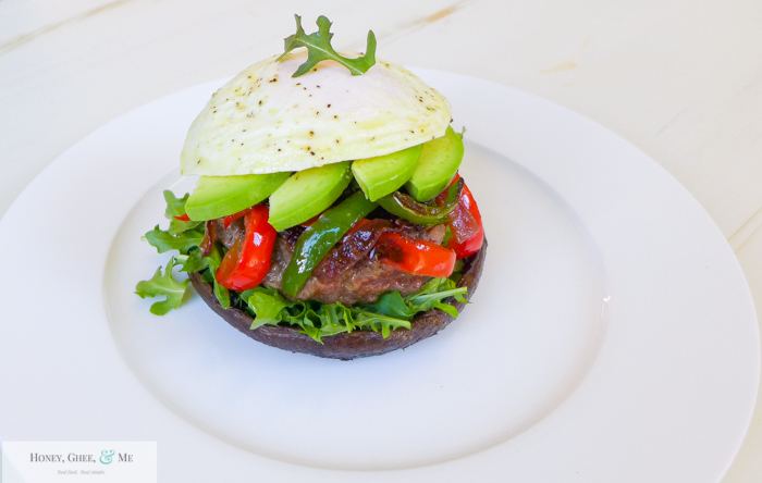mushroom and pepper burger paleo-30