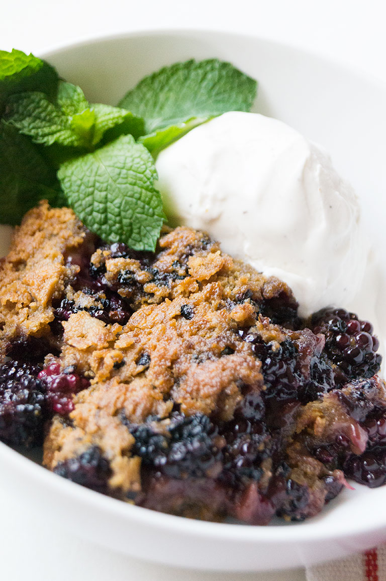 "Enjoy the Southern classic blackberry ""cuppa"" cobbler made gluten-free and Paleo // TheCuriousCoconut.com for FoodRenegade.com"