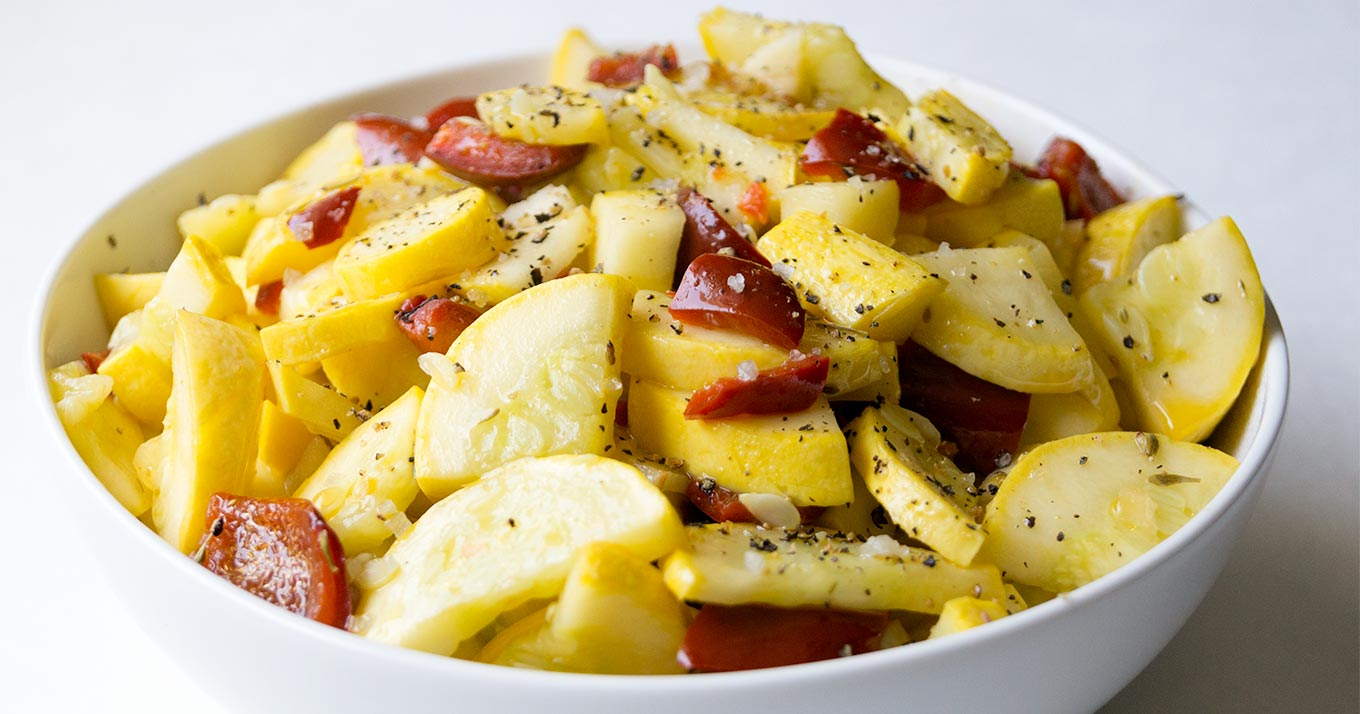 Sautéed summer squash with peppers garlic and herbs